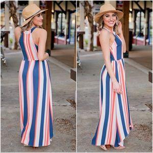 ✨RESTOCKED✨Striped hi low maxi dress